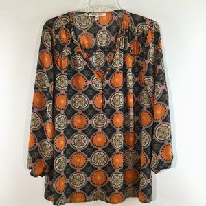 Black Rainn v neck print long sleeves top Size XL